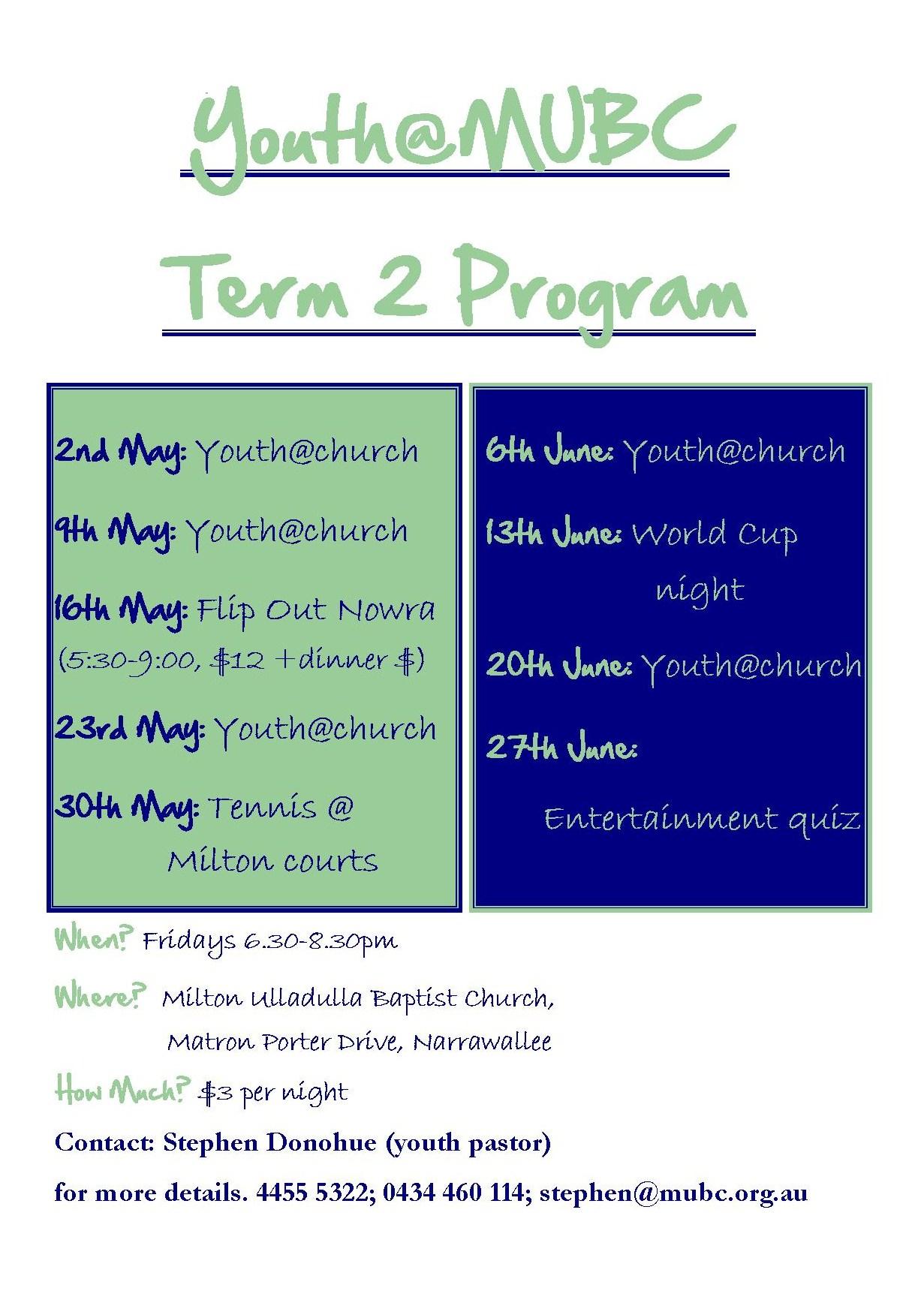 Term 2 2014 program